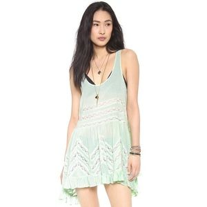 Free people intimates voile trapeze mint dress